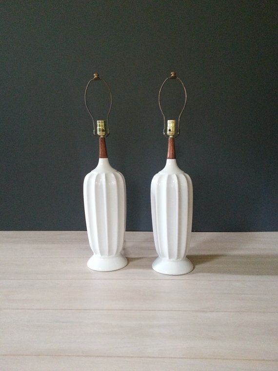 Lamps Large Pair Mid Century White Fluted Table Lamps Walnut Neck Danish Modern Vintage