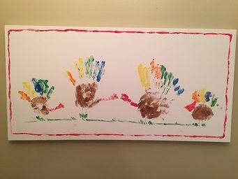 Turkey Family Hand Print Painting