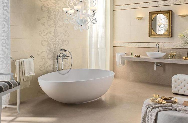 Badfliesen Ideen Luxus Barock Stil Beige Muster Gold Details