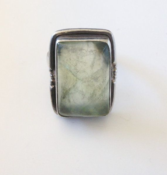 Vintage Prehnite Ring Sterling Silver Ring Prehnite Size 7.5 Bohemian Ring Sterling Vintage Ring Native Green Ring Size 7.5 Womens Ring