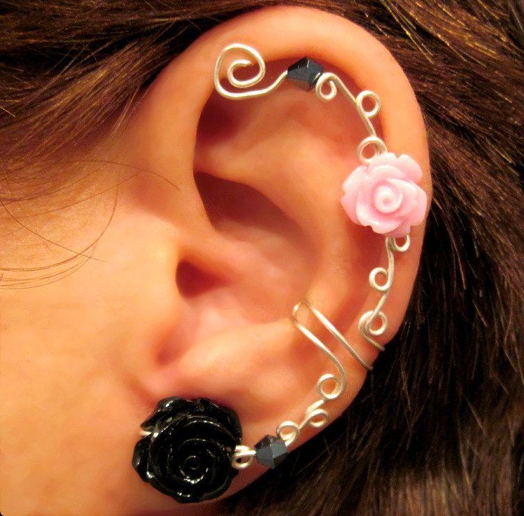 """Non Pierced Ear Cuff  """"Roses are Pretty"""" Cartilage Conch Cuff Silver tone Prom. $12.00, via Etsy."""