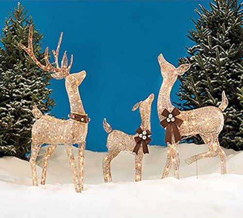 Christmas REINDEER FAMILY 3 piece SET, Includes Glittering Gold ...