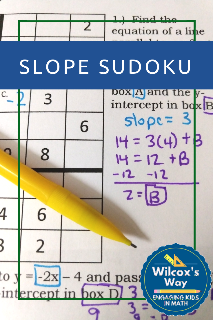 Slope Intercept Form And Writing Equations Sudoku Game