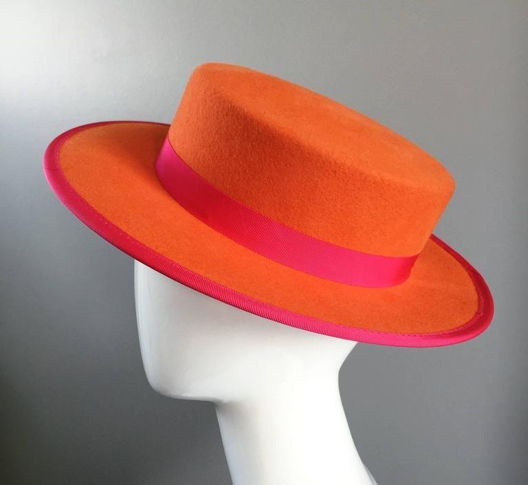ae289edcc87 1960s Tina Too Bollman Neon Orange + Hot Pink Wool Doeskin Felt Vintage 60s  Hat
