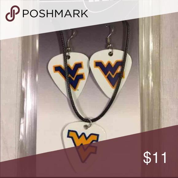 West Virginia Univ Guitar Pick Earrings Necklace