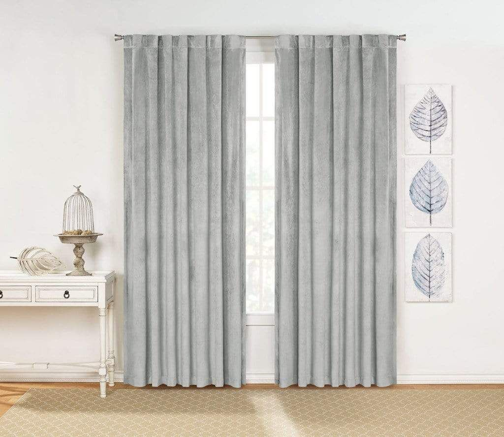 Rivas Plush Velvet Window Curtain Panel Pair Drapery Panels Rod