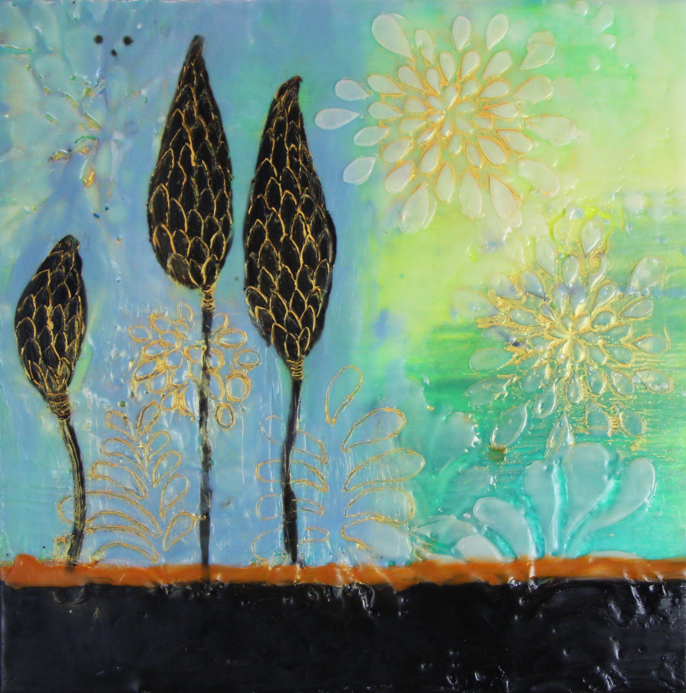 Nature, floral, encaustic pods, 12 x 12