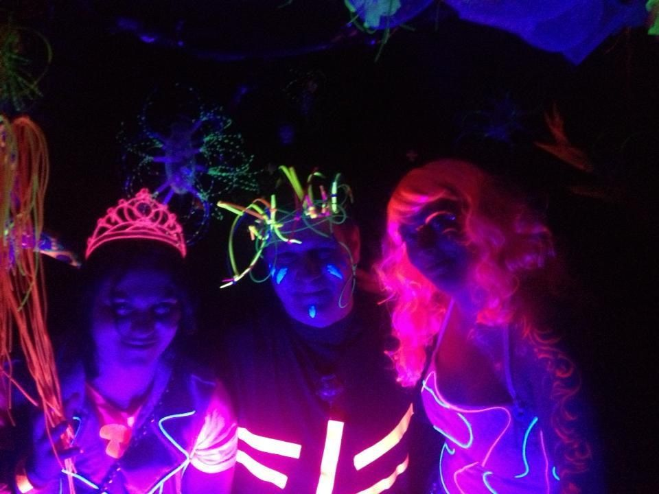 Megan and I at Bioluminescence, my el-wire crown in action | Things ...