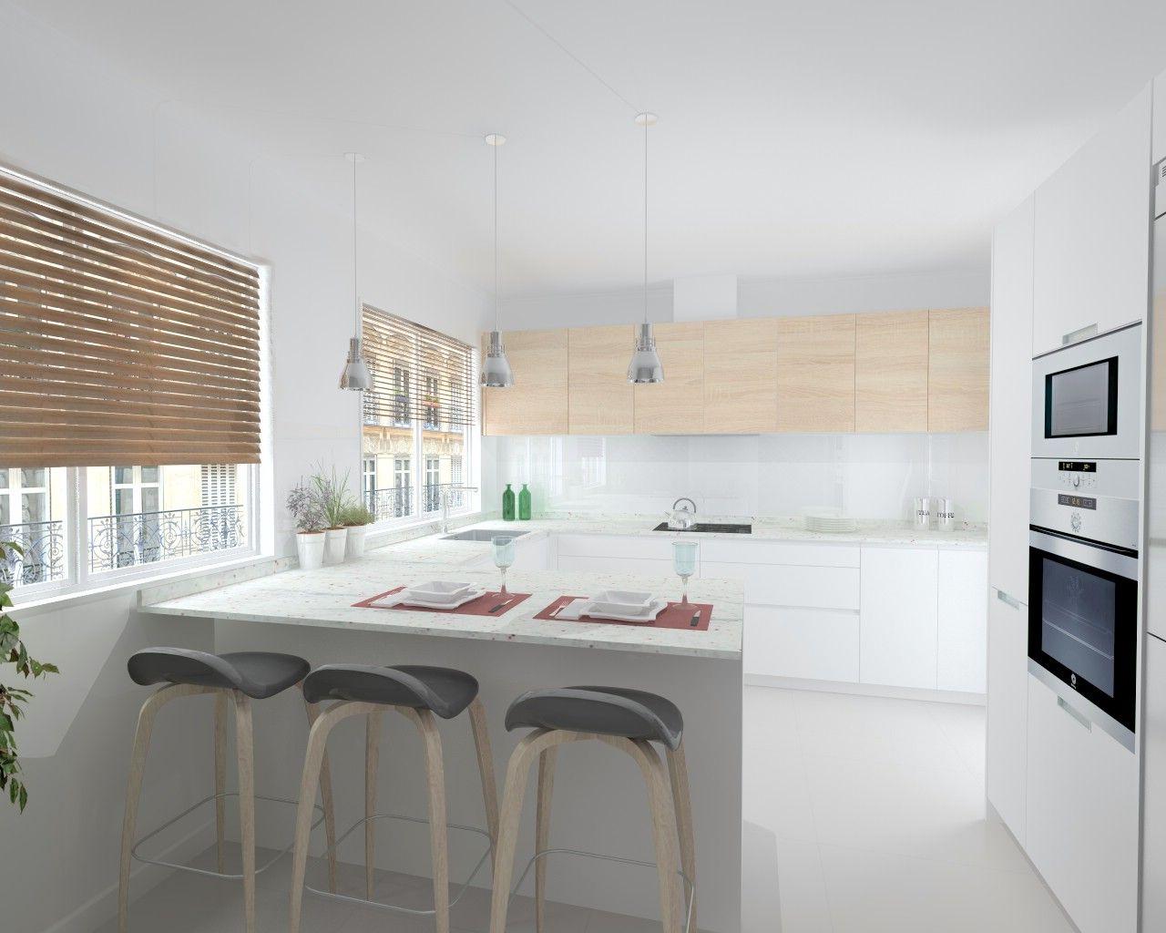 Cocinas blancas con granito fabulous de cocinas modernas - Encimeras cocinas blancas ...