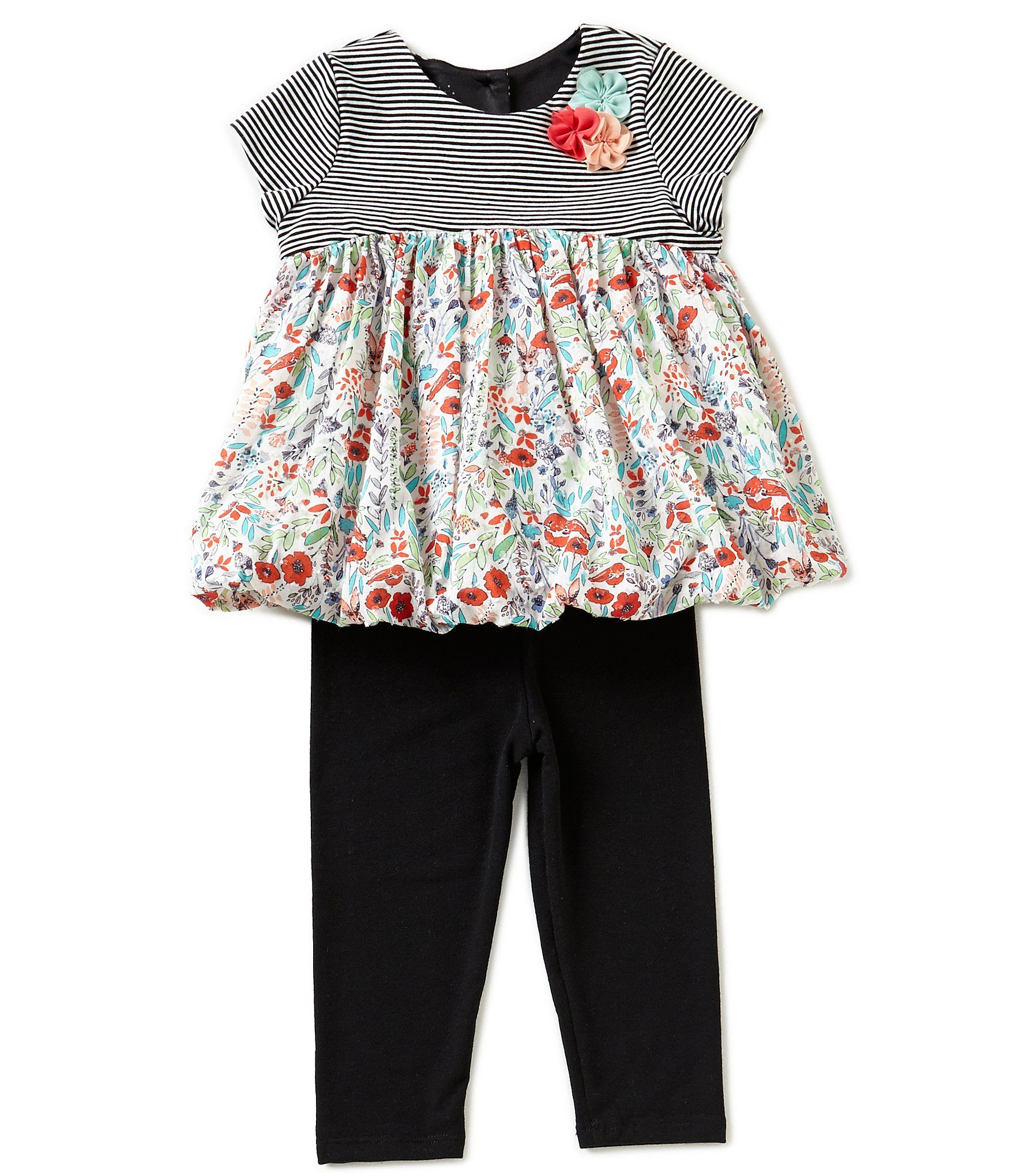 Marmellata Baby Girls 1224 Months FloralStriped Top and Leggings Set