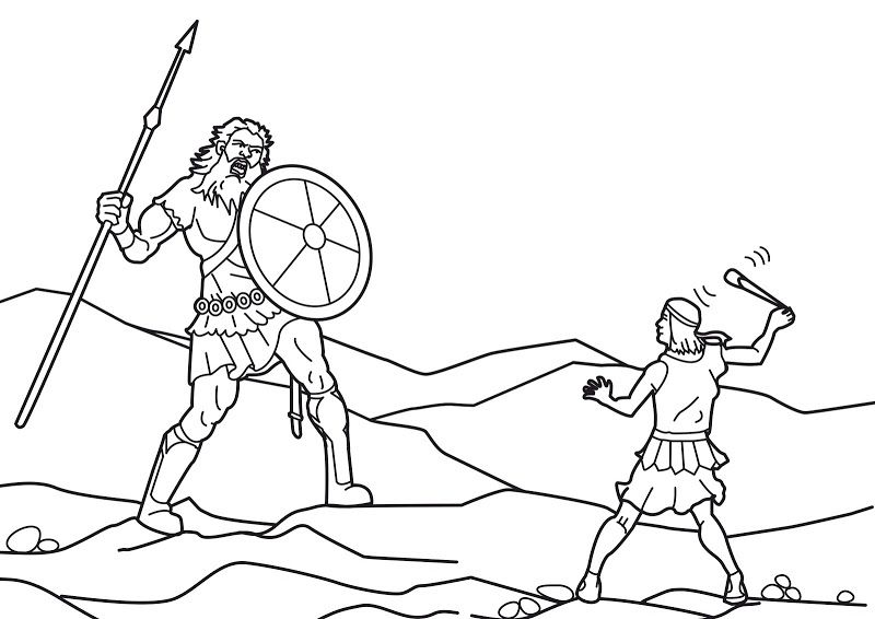 David And Goliath Coloring Pages David And Goliath Bible