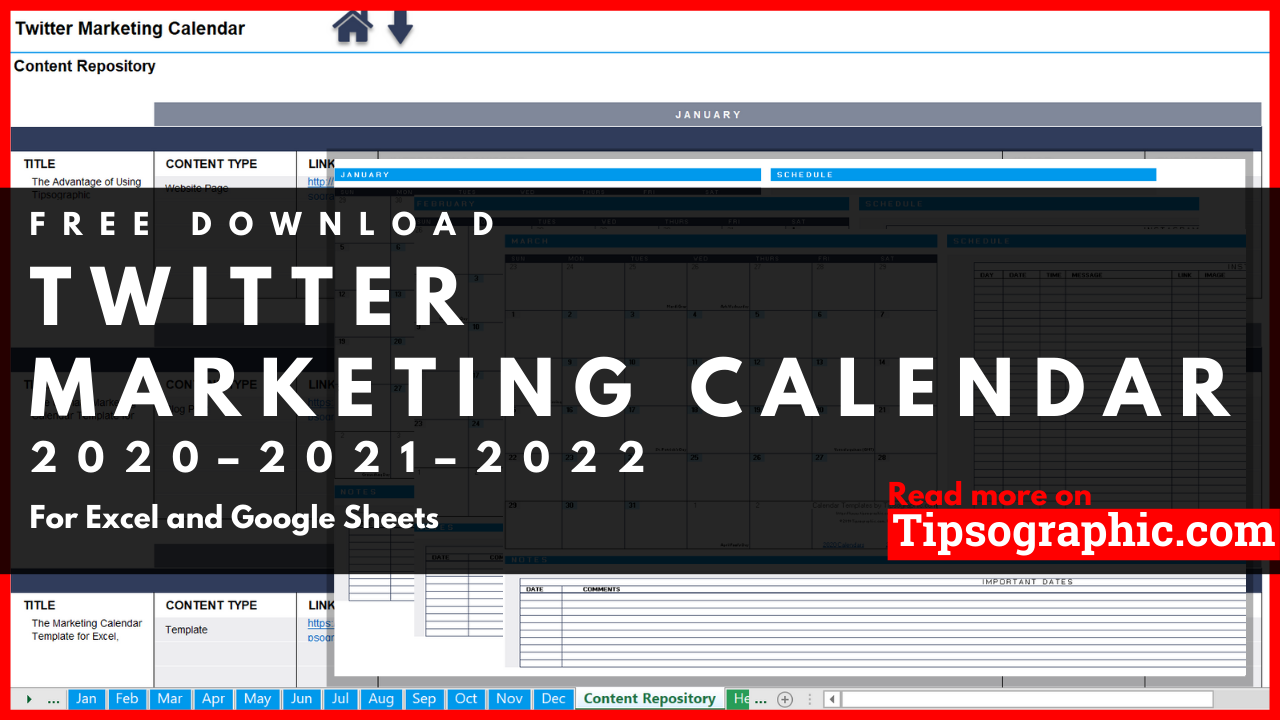 Twitter Marketing Calendar Template for Excel, Free Download (2020
