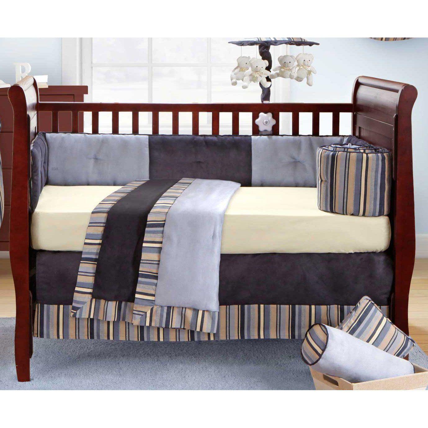 Daniel Solid Blue Navy And Cream 4 Piece Crib Set Nursery