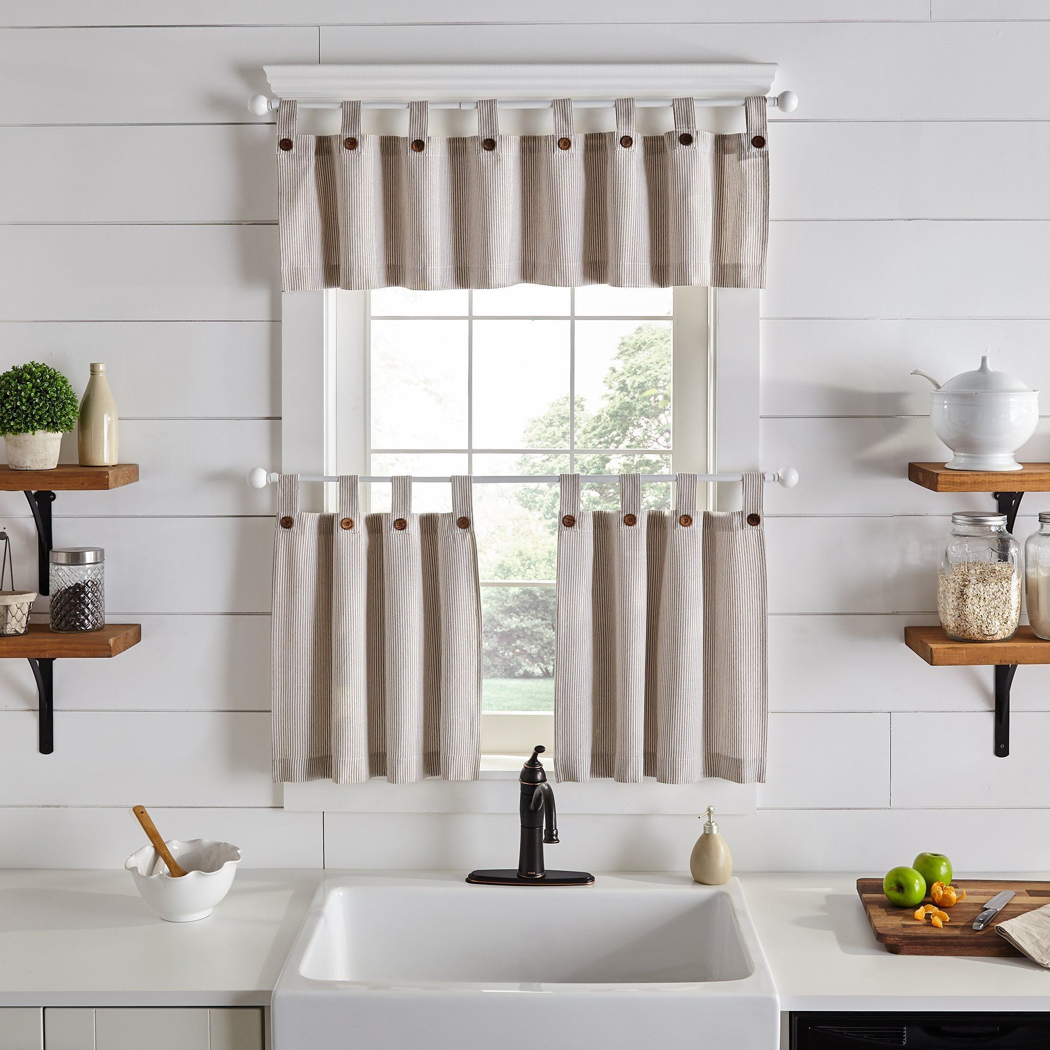 Tucker Ticking Stripe Button Tab Top Window Tier And Valance In 2020 Farmhouse Kitchen Curtains Elrene Home Fashions Cafe Curtains Kitchen