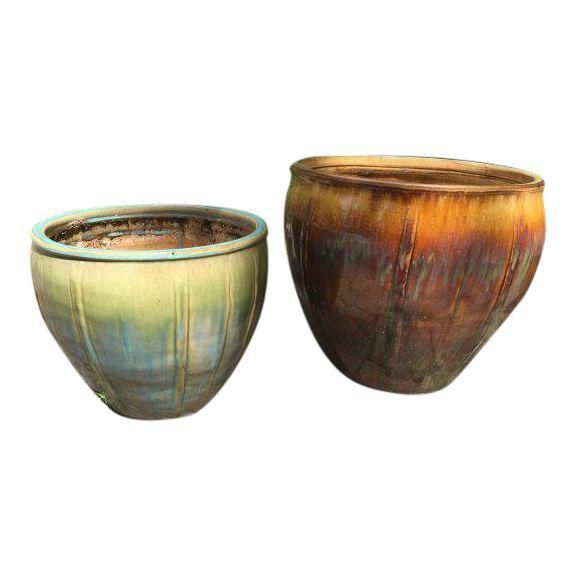 Pair of Contemporary Glazed Garden Planter Pots is part of Contemporary garden Planters - Two contemporary glazed garden planter pots  These planters would be great in a classic or contemporary garden or courtyard  They would also be an apt choice in a corporate, retail or hospitality location such as a boutique hotel lobby, cocktail bar, or members club  Good vintage condition  As expected, signs of use commensurate with age are evident