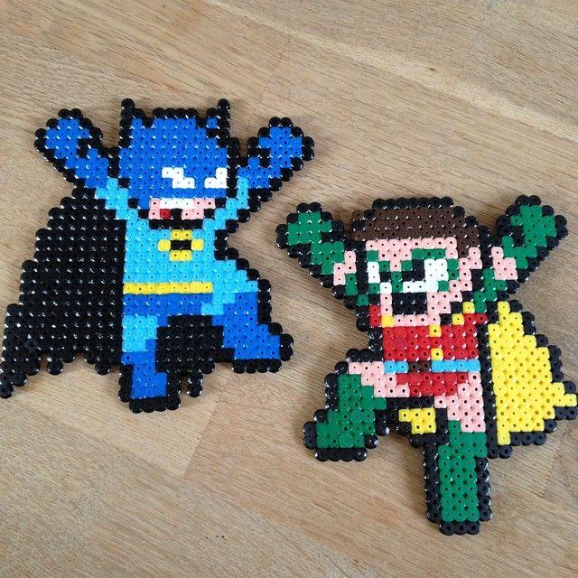 Batman and Robin hama perler beads by charziel