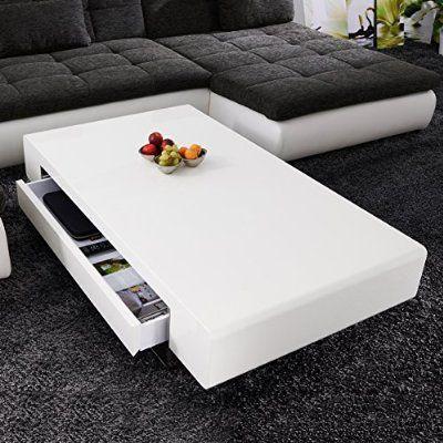 Couchtisch Pocket 120x80 cm Weiss Hochglanz 4 Fächer Möbel Tische - wohnzimmertisch hochglanz weiß