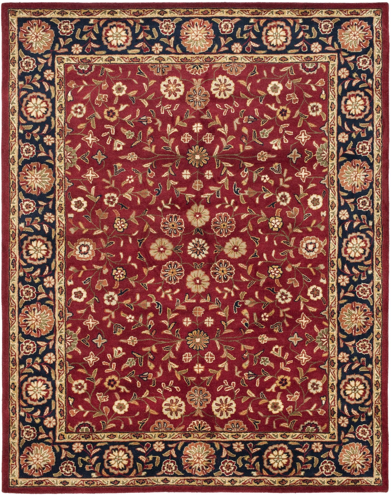 Cranmore Oriental Handmade Tufted Wool Red Navy Area Rug In 2021 Rugs Traditional Area Rugs Floral Area Rugs
