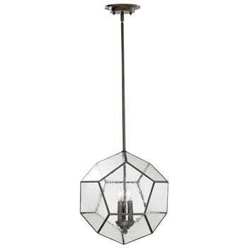Antique Bronze Modern Seeded Glass Pentagon Pendant Light Fixture