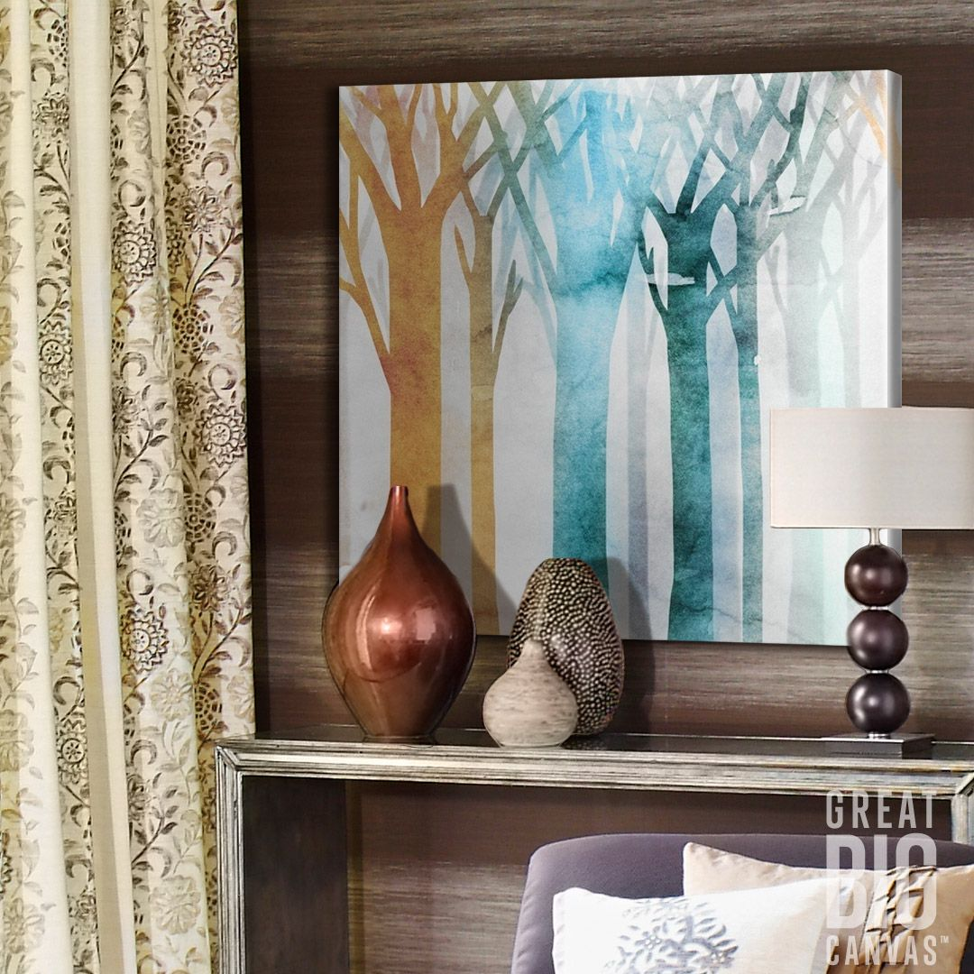 "Create a beautiful background for your glam living room mantle with colorful watercolor art, such as Edward Selkirk's ""Dancing Trees III"" contemporary canvas print. Purchase this art for your home or office at GreatBIGCanvas.com."