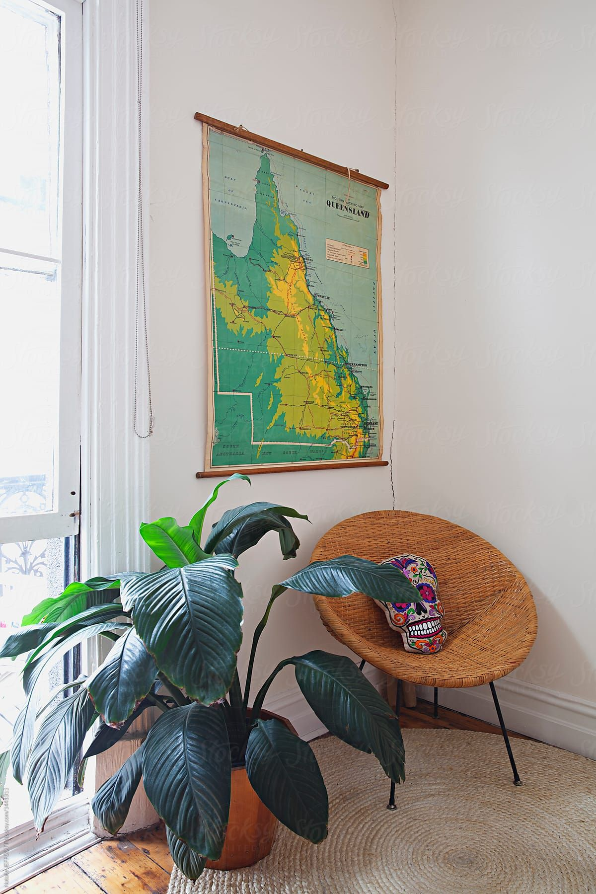 Stock Photo  Styled Corner Of Bedroom With Plant, Chair And Vintage Map Of Queensland is part of Big bedroom Plants -