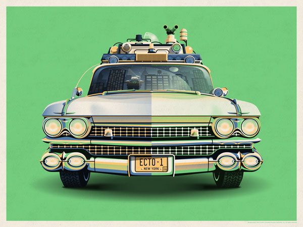 Ghostbusters 30th anniversary ecto 1 poster design by dkng