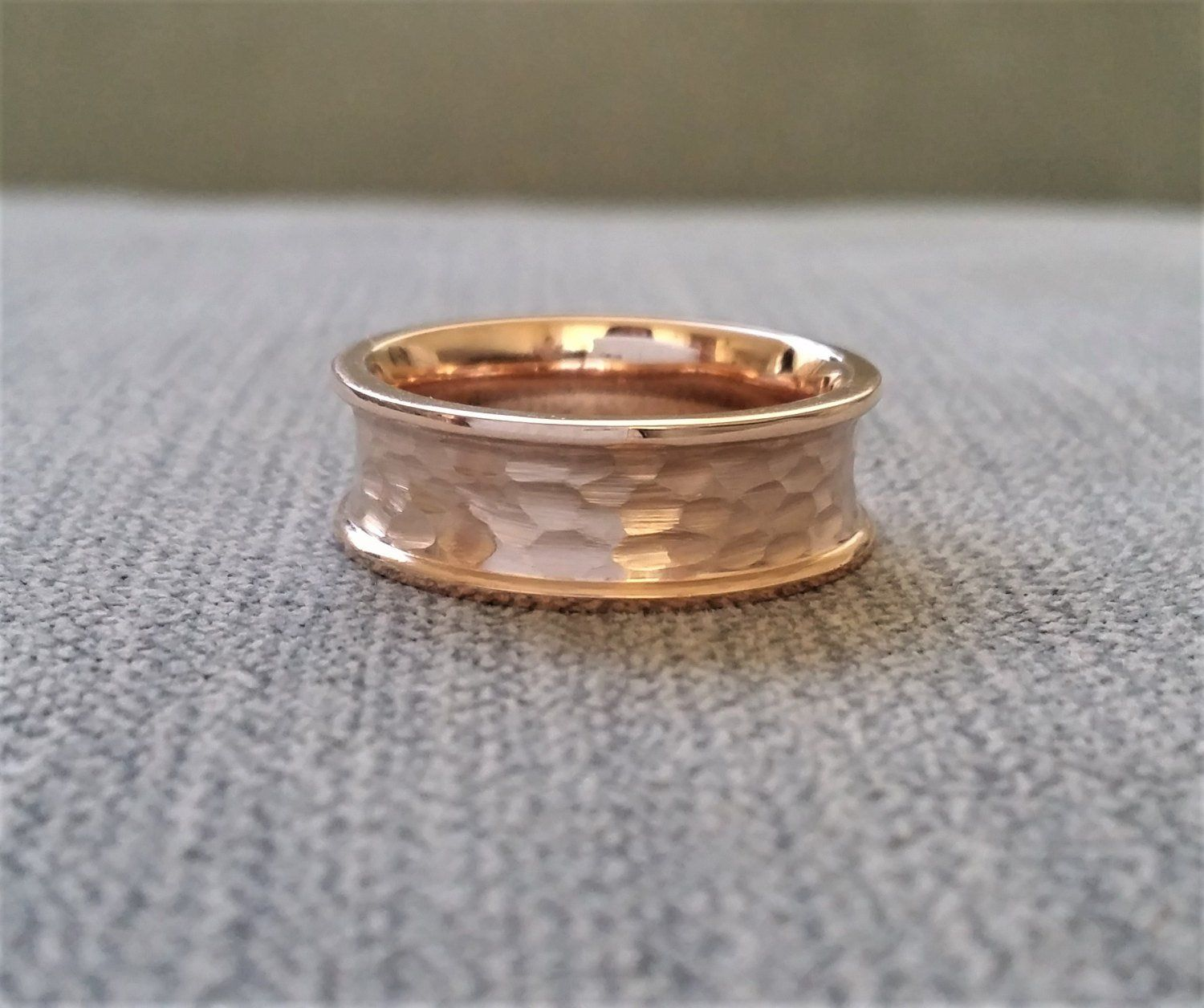 Rustic Mens Wedding Band Ring Textured Hammered Brushed