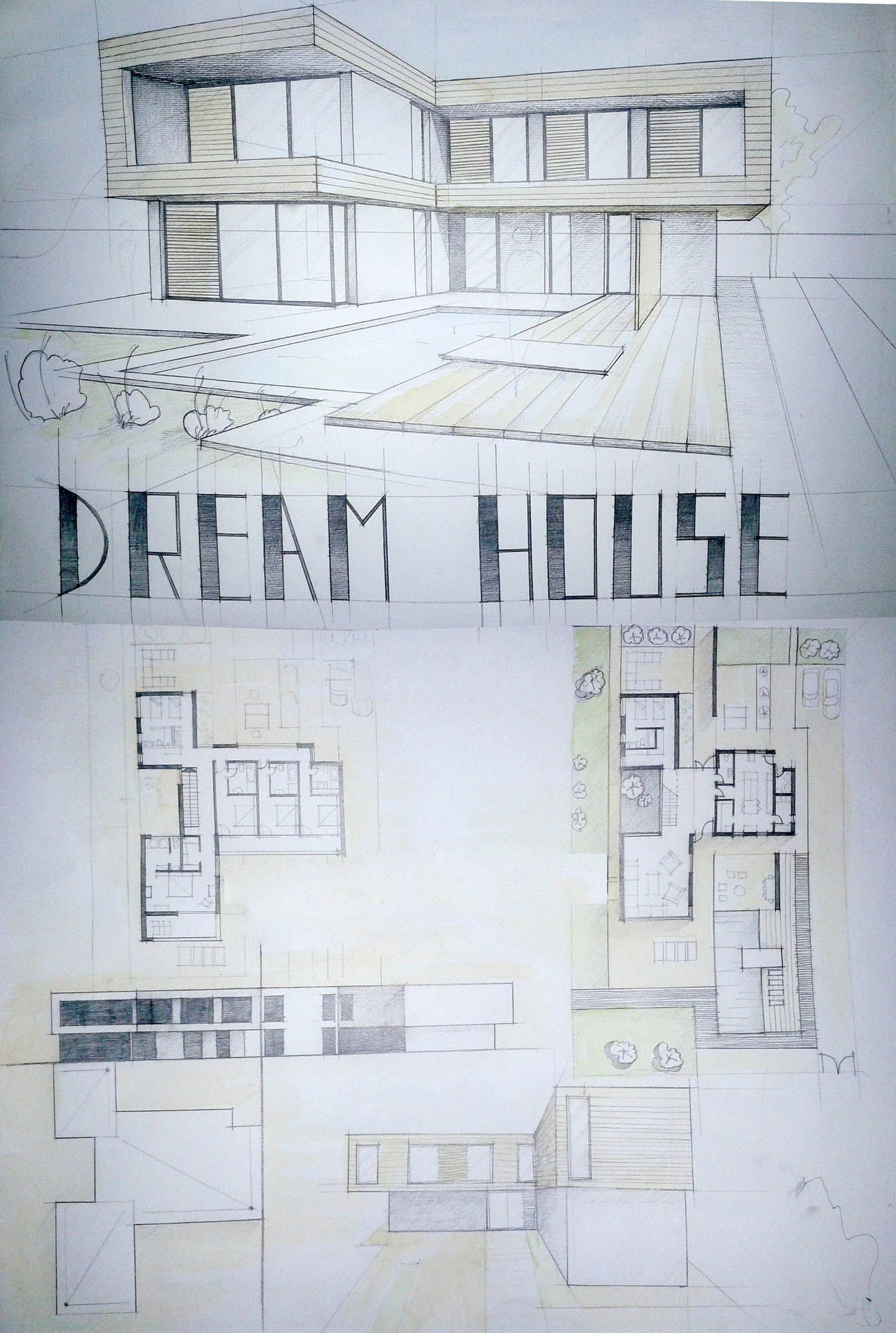 Modern House Drawing student Daniel Brown Architectural