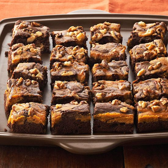 I am repinning this because the first recipe I pinned was SPAM - this is the correct link to Marbled Chocolate-Pumpkin Brownies- It's actually 41 yummy pumpkin recipes from BHG!
