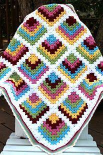 بطانيات كروشية ملونة Granny Square Crochet Pattern Granny Square Crochet Crochet Squares