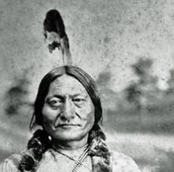 Portrait of Sioux Chief Sitting Bull. Sitting Bull became head of the Strong Heart warrior society in 1856 and chief of the entire Sioux nation in 1867.
