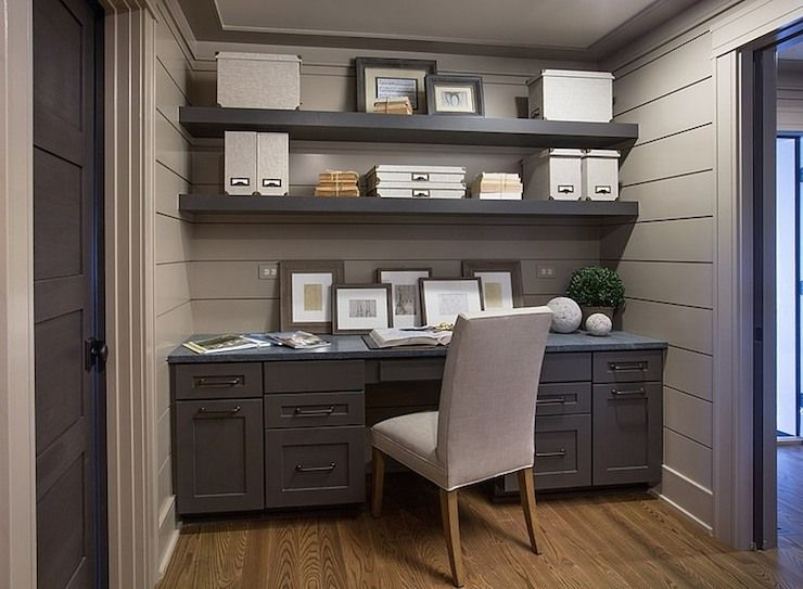 groove small office deskb. Lovely Office Nook Features Gray Tongue And Groove Paneled Walls Framing Dark Floating Shelves Over Small Deskb E