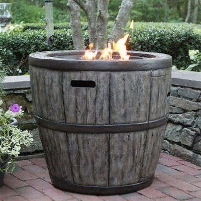 Wine Barrel 27 Gas Fire Pit With Concrete Base Table