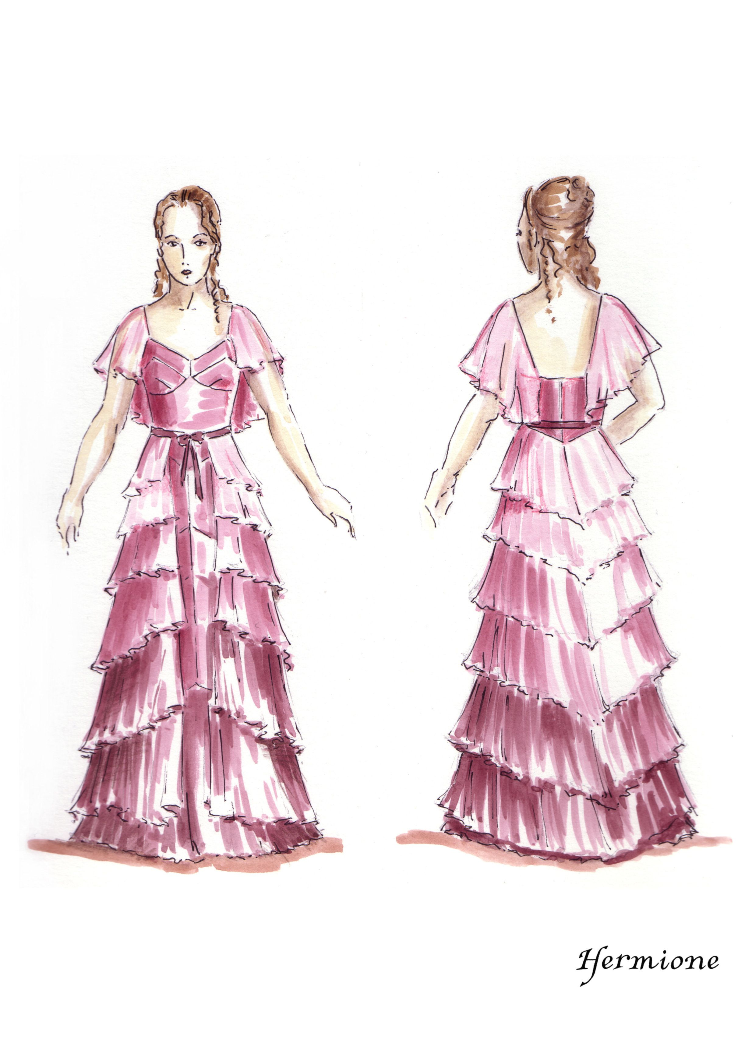 An illusration of Hermione in her Yule Ball dress