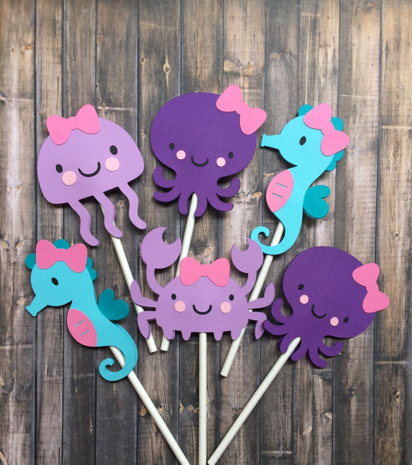 12 Under the sea cupcake toppers girl seahorse octopus jelly fish