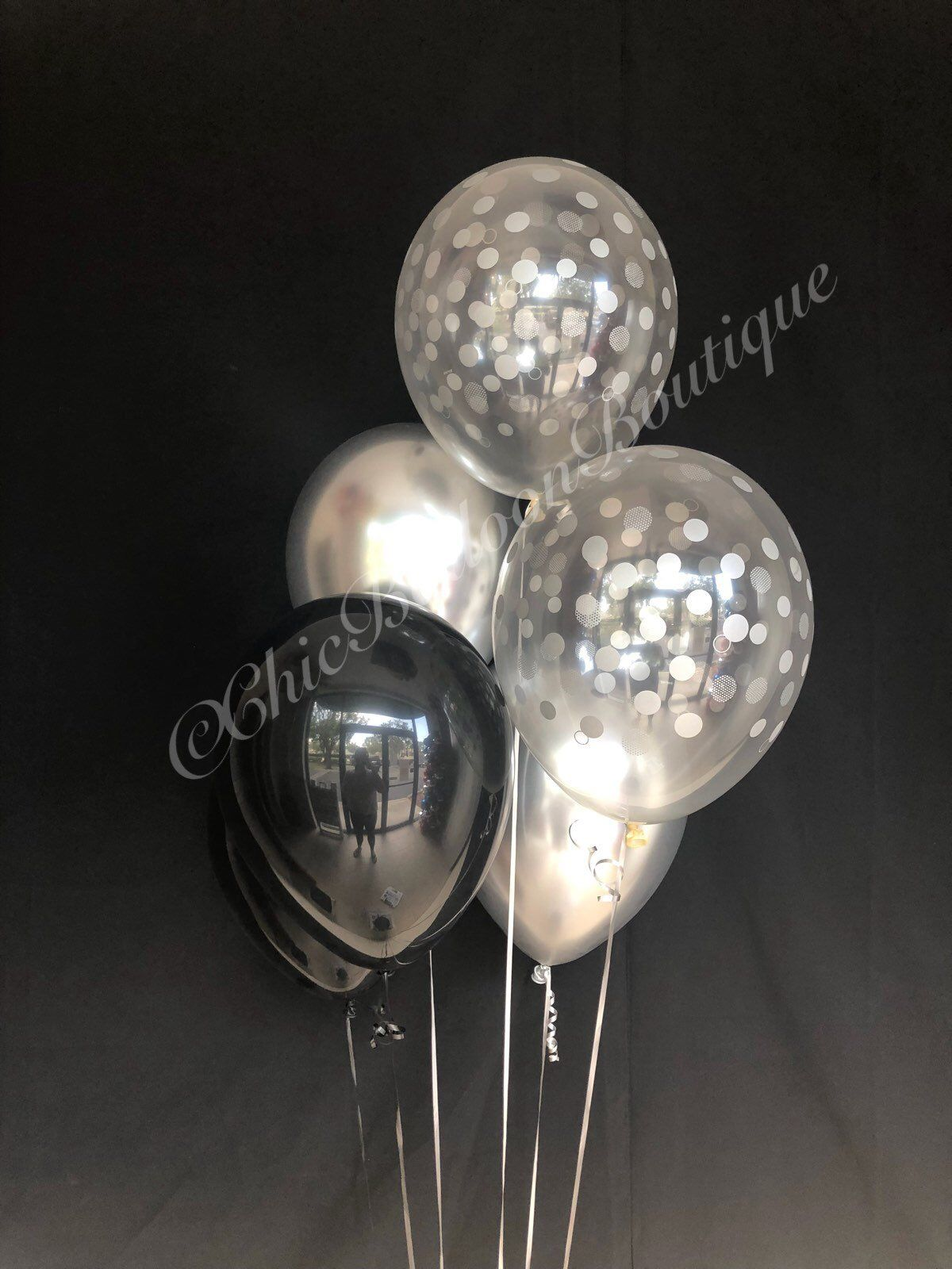 pin by chic balloon boutique on confetti balloons black balloons