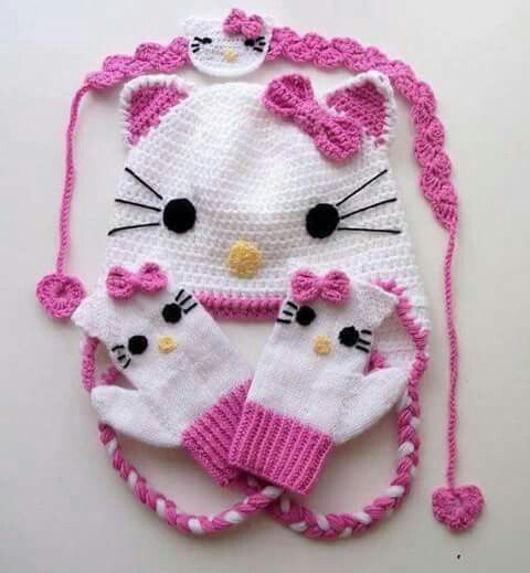 Gorro y mitones de Hello kitty a ganchillo. | gorros a crochet ...