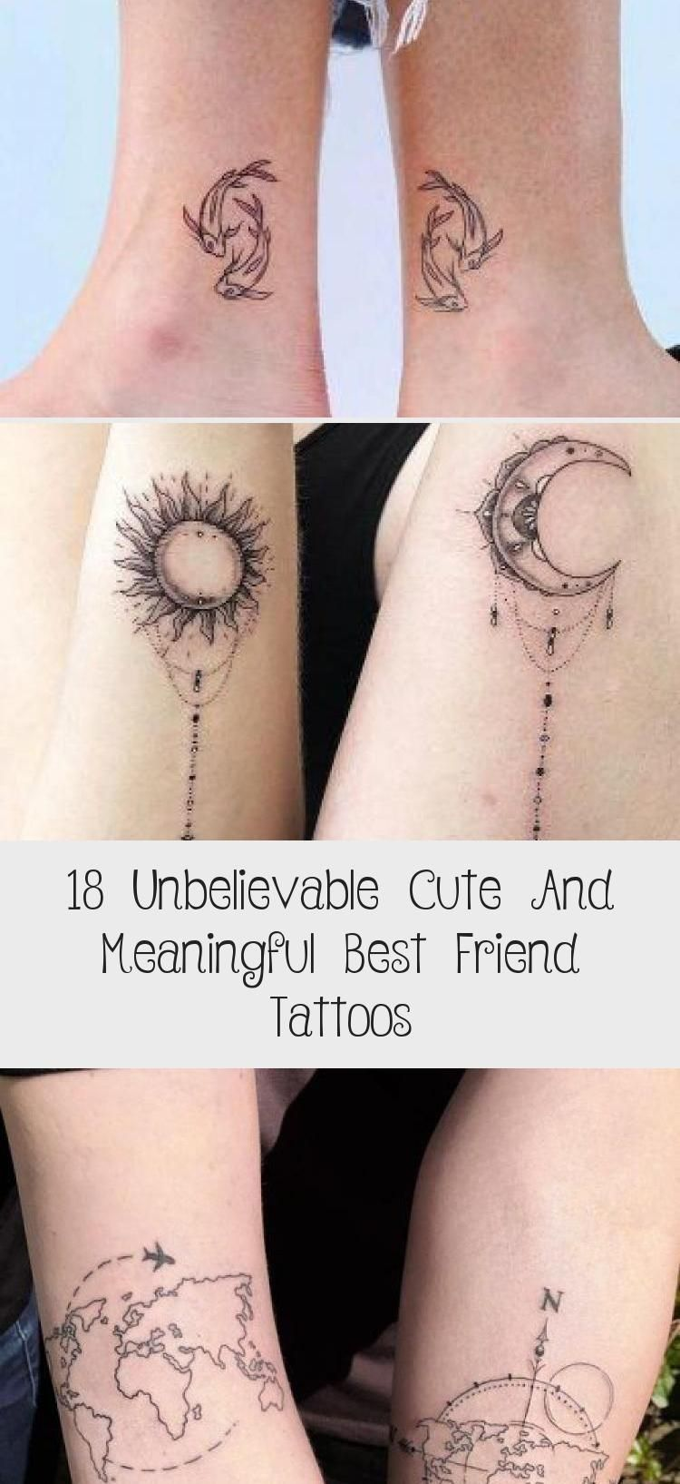 18 Unbelievable Cute And Meaningful Best Friend Tattoos – Tattoo Blog –  The Sun And The Moon Tattoos #sunandmoontattoo #suntattoo #moontattoo ★ Mat…