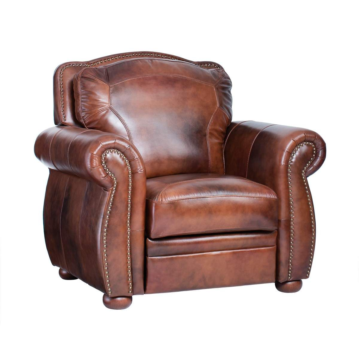 Top Grain Leather Recliner Chair Rolled Arm Accent Chair