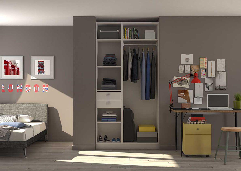 aménagement pour placard-dressing dont un caisson tiroir et un