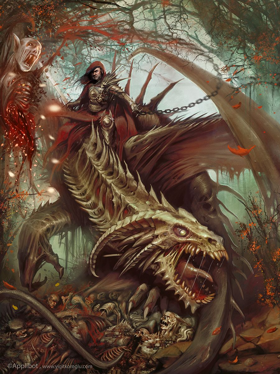 amareverie:  Undead dragon rider by *yigitkoroglu