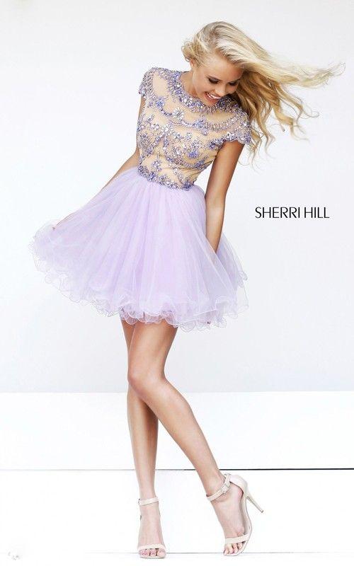 Sherri Hill 21304 Beaded Nude/Purple A-Line Short Tulle Homecoming Dress  Cheap