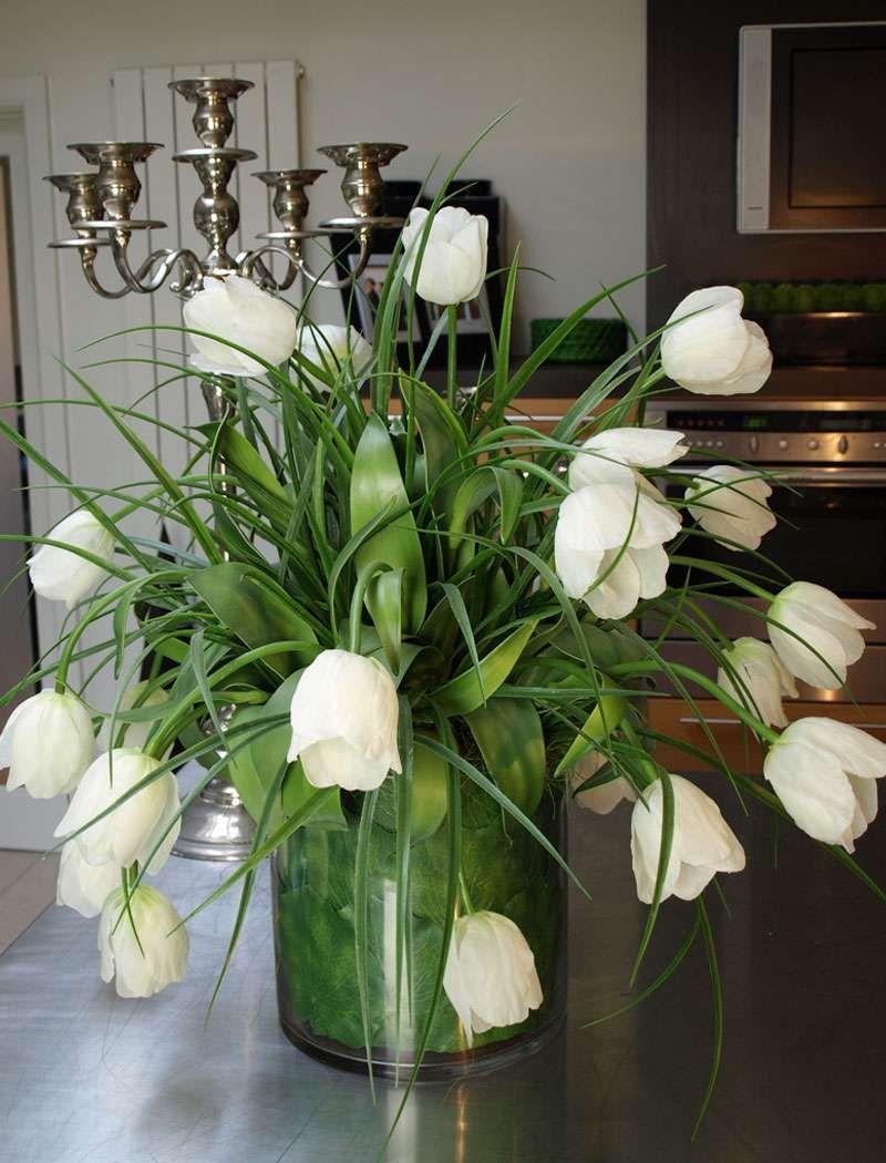 Tulips In Glass Tank, White   RTfact   Artificial Silk ...