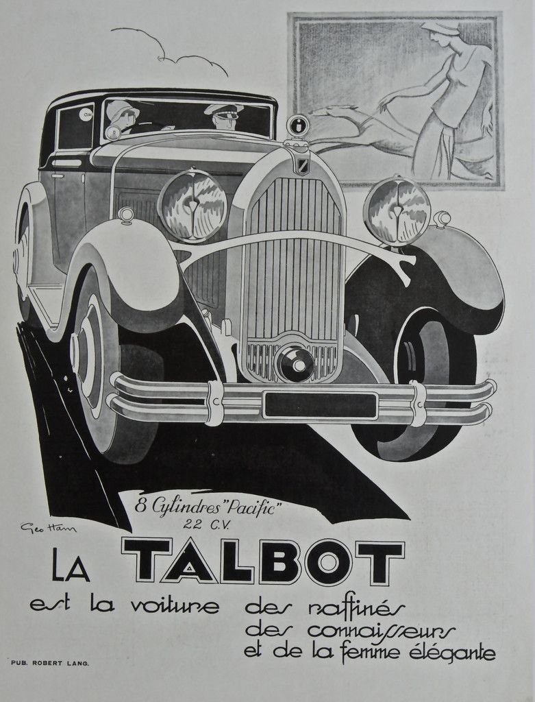 Talbot French Automobile Magazine Advertisement 1927 Rue Marcellin Original Vintage Posters Vintage French Posters Automotive Art Illustrations Automobile
