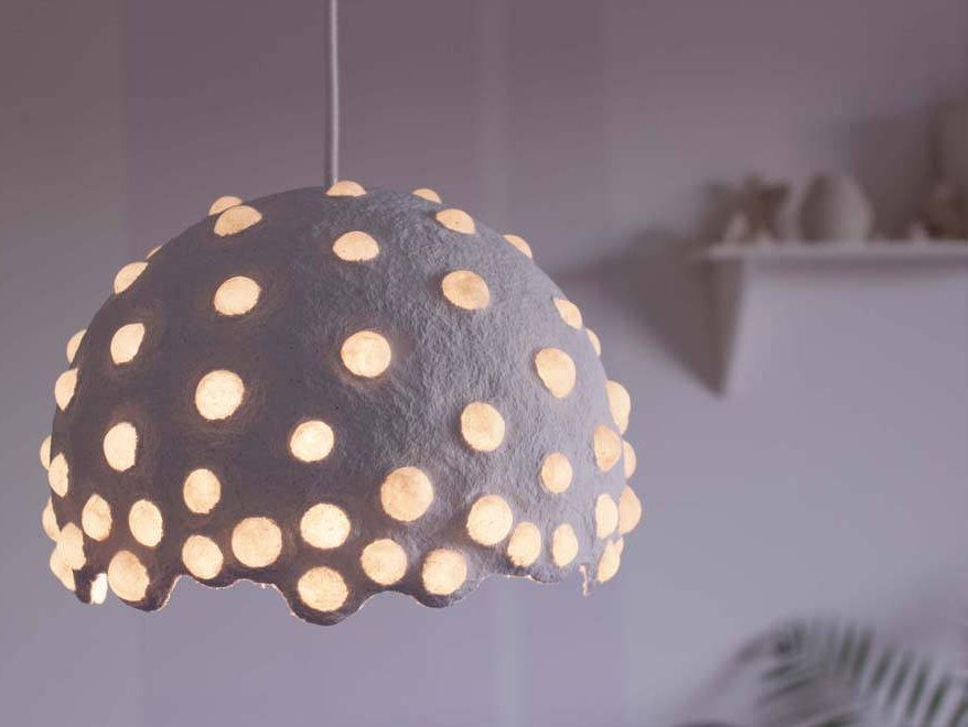 Paper Mache Pendant Light Recycled Paper Lampshade Paper Pulp Light Translucent Paper Light Hanging Lamp C Paper Lampshade Paper Light Diy Lamp Shade