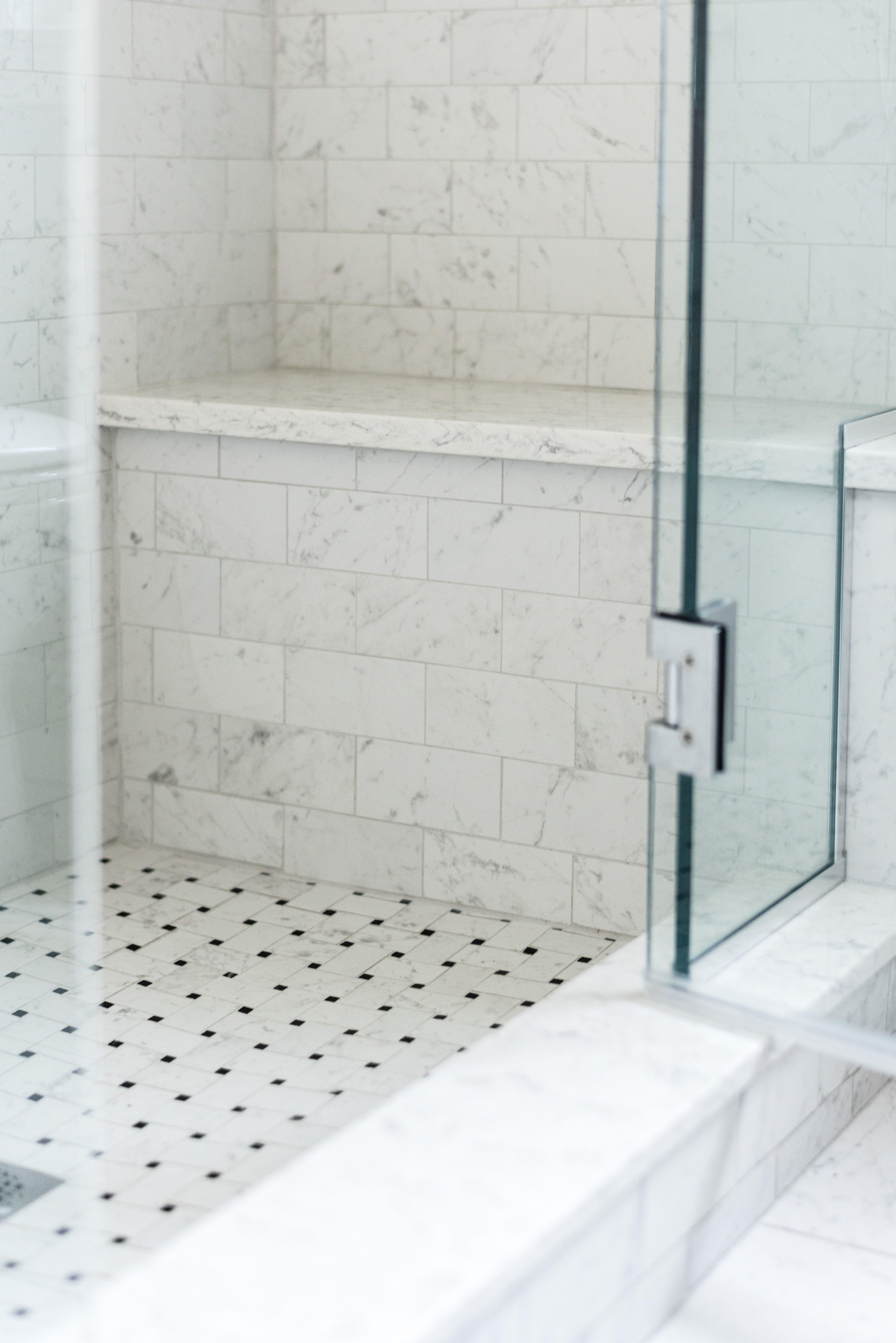 Basketweave Shower Floor Porcelain Tile Viatera Minuet Upstairs