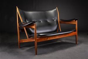 FINN JUHL CHIEFTAIN SOFA, MAHOGANY AND BLACK LEATHER | Danish Design ...