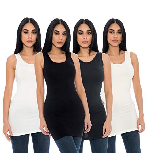 0f0a4c8987a99 New Unique Styles Seamless 4 Pack Long Tank Top Stretch Camisole Layering  Tops Regular Plus Size Women s Fashion Clothing online.   32.99 - 34.99   from top ...