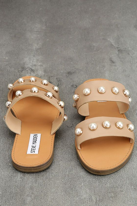 6f16303a82a Bring a little glam along on your next getaway with the Steve Madden Jole  Nude Leather Slide Sandals! Faux pearls in gold settings decorate the wide  straps ...