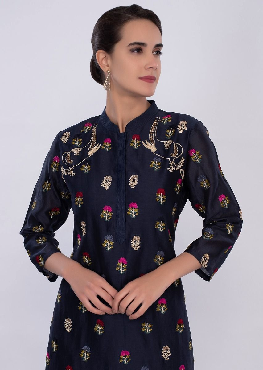 18b1e790f666 Navy blue cotton kurti in multi color floral butti only on Kalki ...